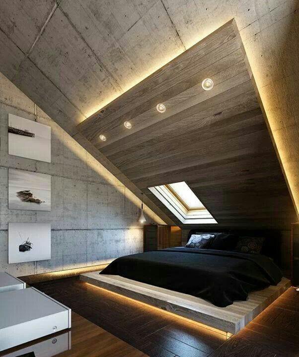 Moderne Schlafzimmer Einrichtung Und Lichtgestaltung Mit Indirekter Boden    Und Deckenbeleuchtung