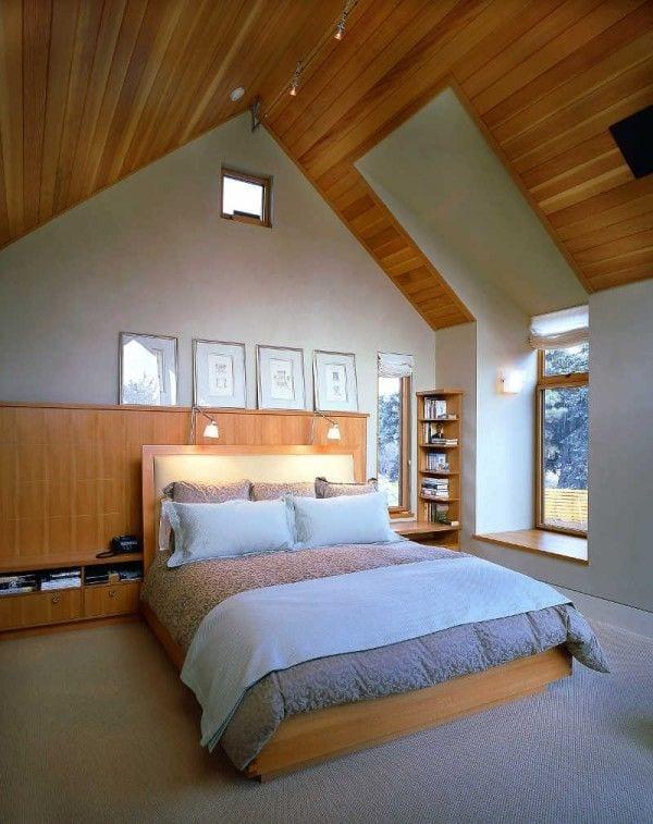 modernes schlafzimmer mit dachschr ge aus holz gem tlich gestalten freshouse. Black Bedroom Furniture Sets. Home Design Ideas