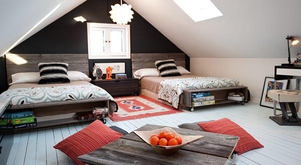Schon Schlafzimmer Dachschräge Gemütlich Gestalten Mit Wandfarbe Schwarz