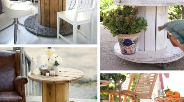 DIY kabelrolle Tische für rustikales Interior design