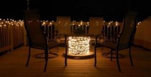 Kabelrolle Tisch mit leuchten dekorieren
