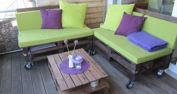 terrasseneinrichtung mit terrassenm bel aus europaletten. Black Bedroom Furniture Sets. Home Design Ideas