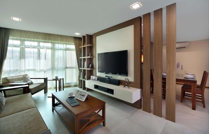 Tv wandpaneel aus Holz als raumteiler - fresHouse