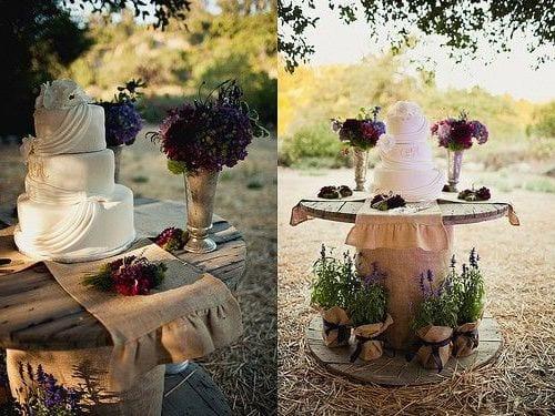 Hochzeitsdeko Rustikal coole hochzeitsdeko idee mit rundem kabelrolle holztisch als