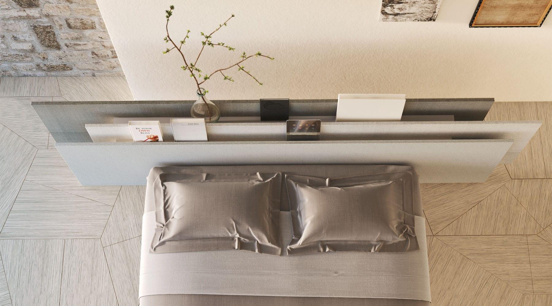 coole einrichtungsideen schlafzimmer mit modernem bett und b cherregal als r ckenlehne freshouse. Black Bedroom Furniture Sets. Home Design Ideas