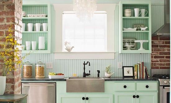interessante küchenidee für vintage küche in hellgrün und weiß