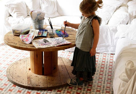 kabelrolle tisch als runder couchtisch holz freshouse. Black Bedroom Furniture Sets. Home Design Ideas