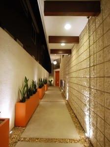 Narrow Corridor Concrete Pathway Jetson - Seal Beach Interior Design