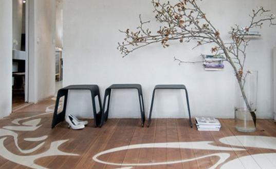 kreative streichen ideen in weiß für Holzbodenbeläge