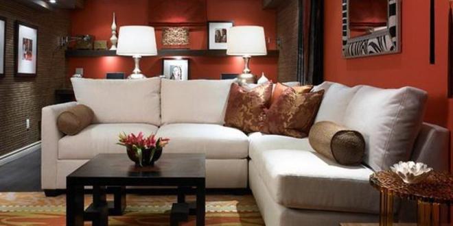 Kreative Wohnidee Wohnzimmer Mit Wandfarbe Rot Und Teppich In Gelb