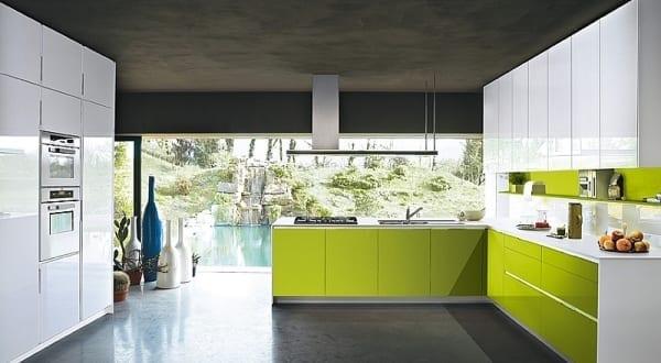 luxus küche weiß und grün von Snaidero