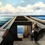 moderner betonbau mit Dachpool und Außentreppe aus Beton