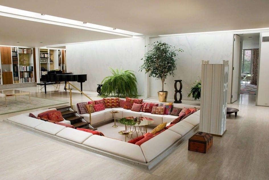 luxus wohnzimmer inspiration für raumgestaltung mit bodenkissen ...