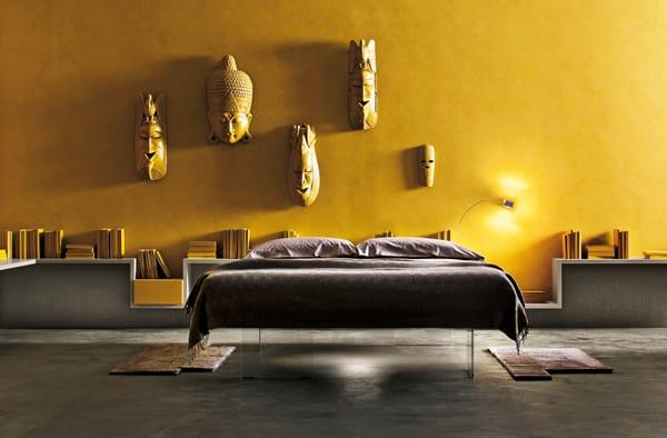 minimalistisch wohnen coole wohnidee f r moderne schlafzimmer mit gelbe w nden und wei en. Black Bedroom Furniture Sets. Home Design Ideas