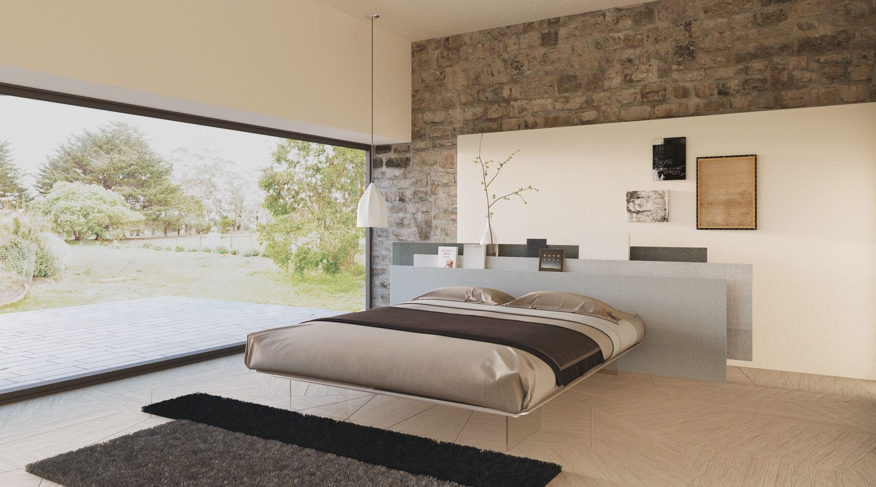 minimalistische schlafzimmer einrichtung mit lzxzs bett und ...