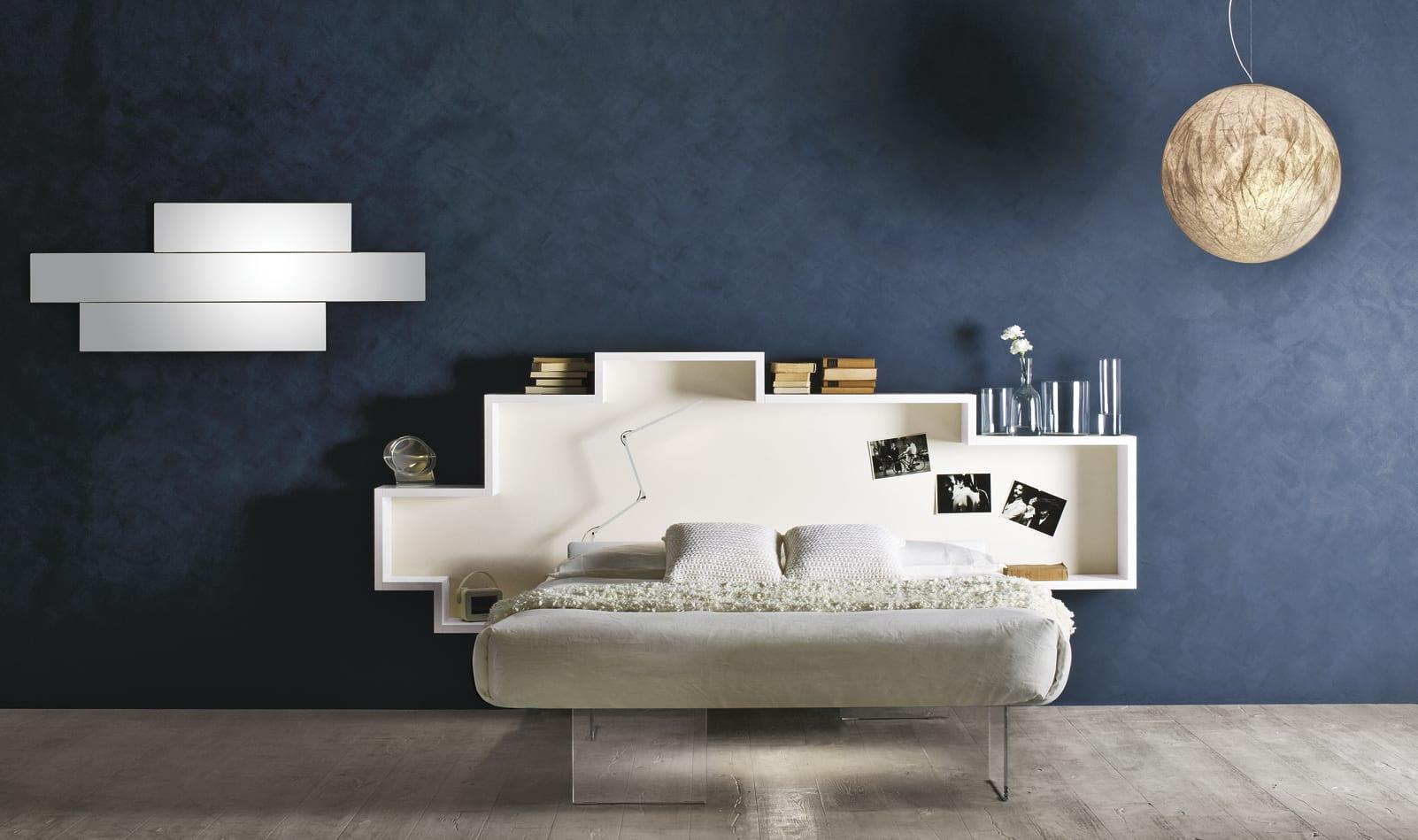 minimalistische schlafzimmereinrichtungsideen mit wandfarbe blaz und ...