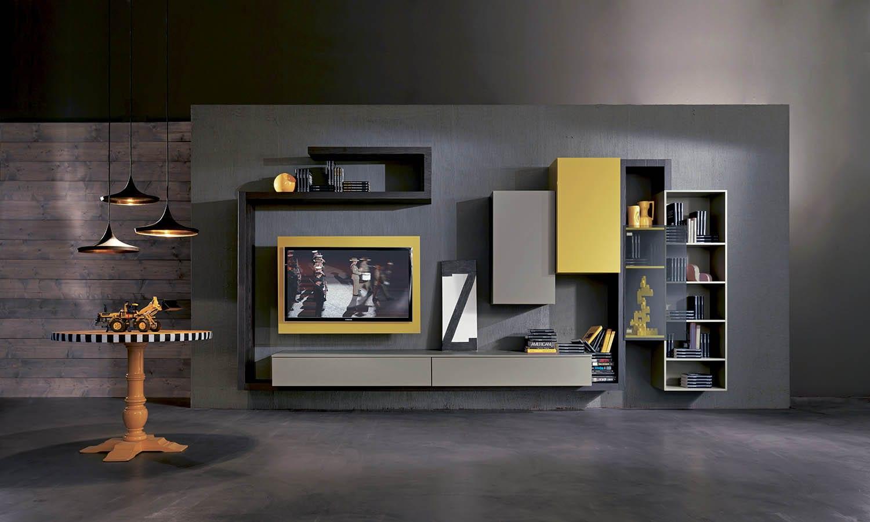 moderne wohnyimmer einrichtung mit tv wandpaneel in grau und gelb ... - Wohnzimmer Gelb Grau