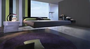 moderne einrichtungsideen für minimalistische schlafzimmer in lila und grau mit modernen bnachttisch und kleiderschrank