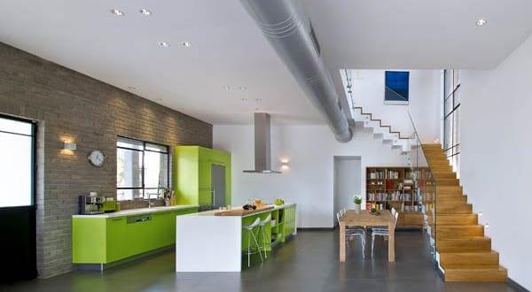 Küchen Idee moderne küchenidee für küche weiß grün in casa kibuts