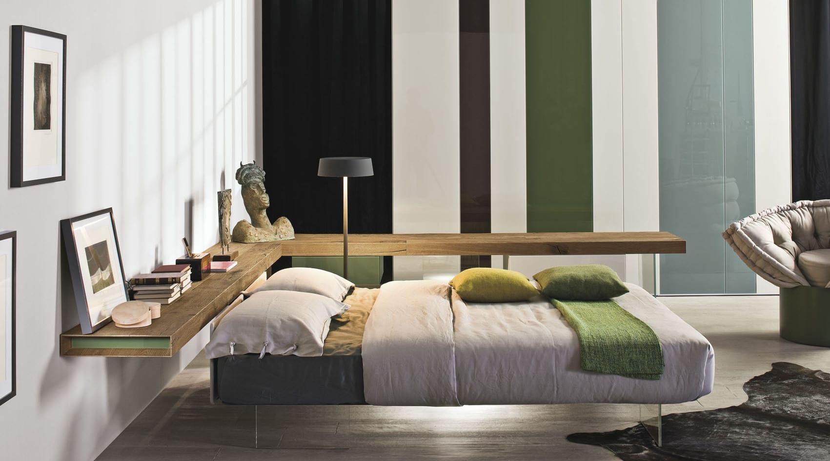 moderne m bel f r minimalistische schlafzimmer und moderne einrichtungsidee mit wandregal aus. Black Bedroom Furniture Sets. Home Design Ideas
