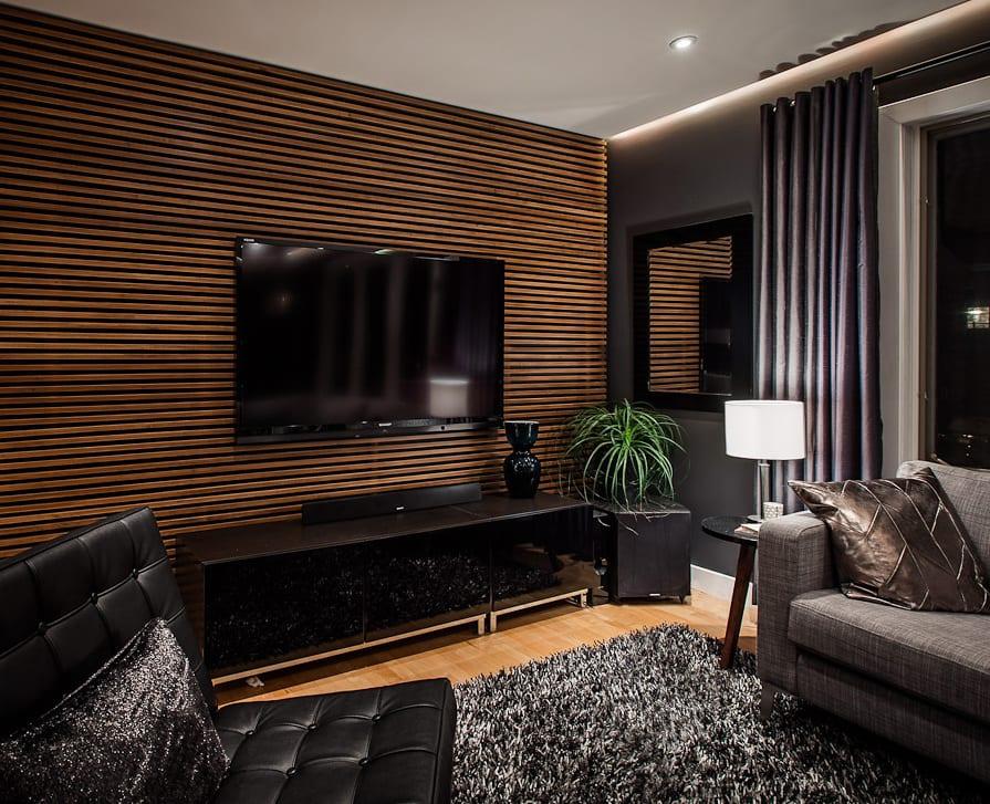 Modernes Wohnzimmer Schwarz Mit Tv Wanpaneel Holz Und Schwarze