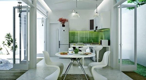 ultra-moderne-kleine-küche-weiß-mit-spritzwasserschutzglas-grün ...