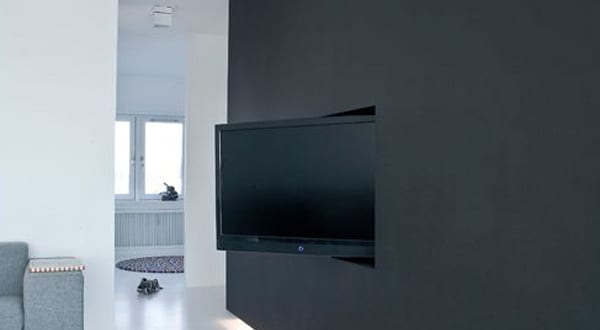 wand tv idee f r modernes interieur mit wandfarbe schwarz. Black Bedroom Furniture Sets. Home Design Ideas