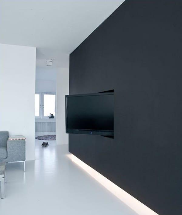 Wand tv idee f r modernes interieur mit wandfarbe schwarz - Wandfarbe schwarz ...