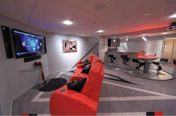 wohnidee f r keller einrichtung als mediaraum mit bar freshouse. Black Bedroom Furniture Sets. Home Design Ideas