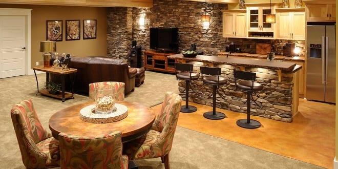 Wohnideen Küche wohnideen wohnzimmer und küche mit bar im keller freshouse