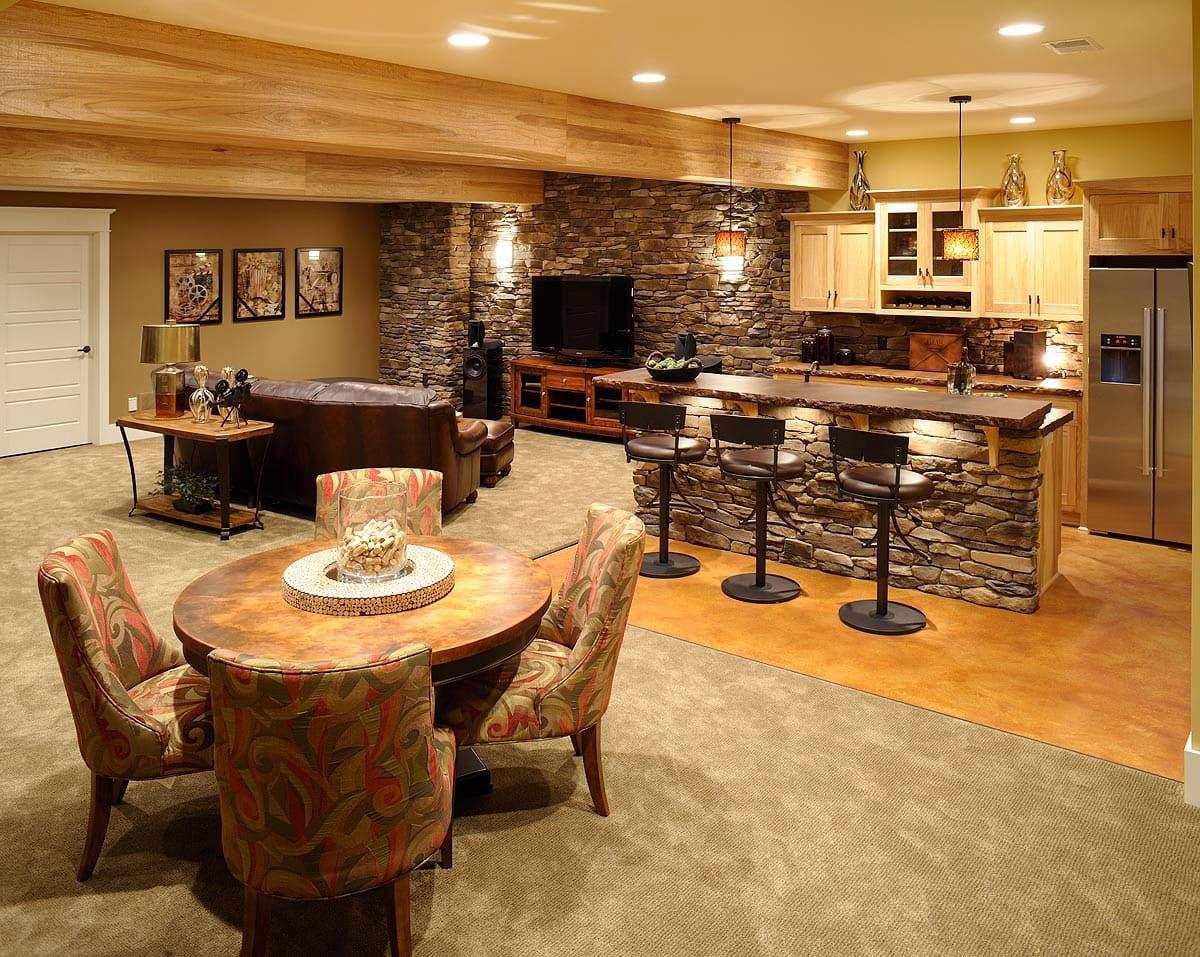 U küchen mit bar  wohnideen wohnzimmer und küche mit bar im keller - fresHouse