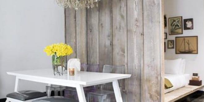 DIY raumteiler als Holzwand für moderne raumtrennung kleiner wohnung