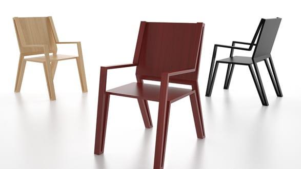 Holzstuhl rot und schwarz für moderne Esszimmer einrichtung von MICHAEL SAMORIZ