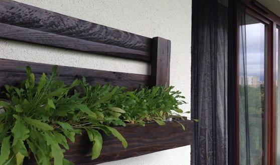 Wanddeko idee für die Terrasse mit DIY Wandregal und pflanzenhalter aus paletten