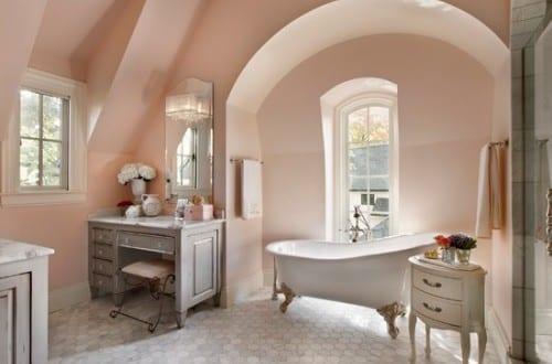 Badezimmer Farbgestaltung Mit Wandfarbe Hellrosa Für Optische