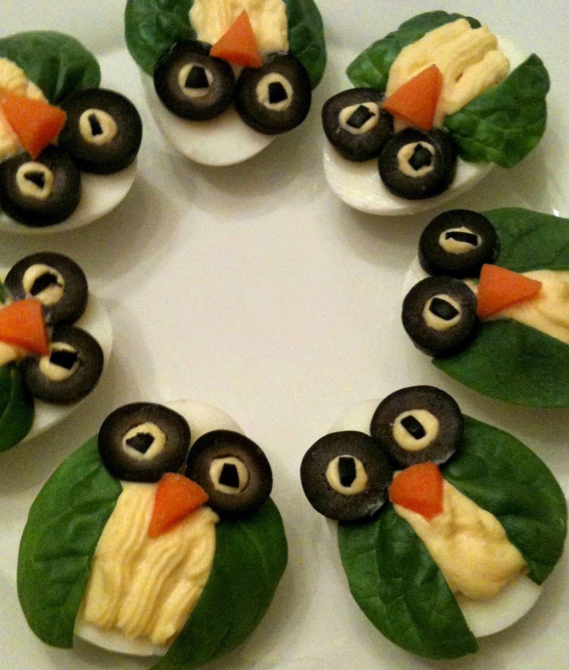coole Eule-Vorspeise mit gekochten Eiern als Idee für cooles Party ...