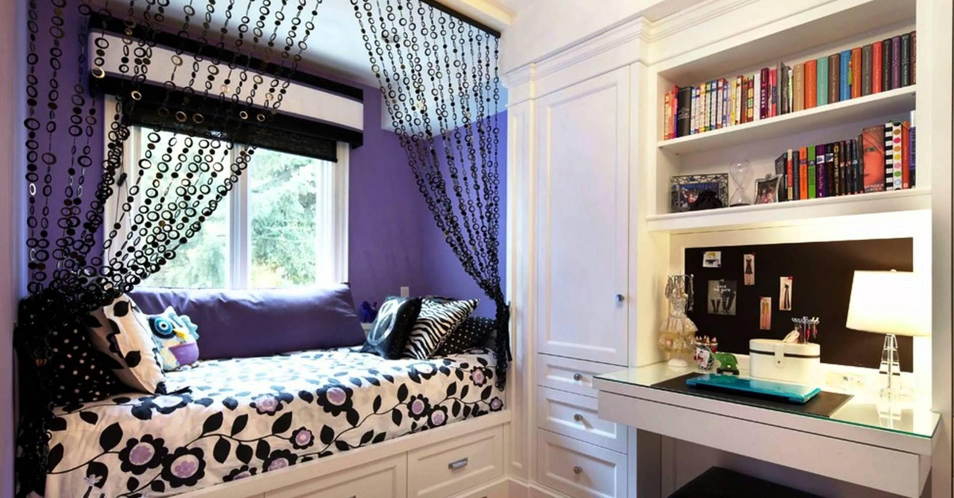 coole deko idee und farbgestaltung in lila und schwarz frs mdchen schlafzimmer - Coole Mdchen Schlafzimmer