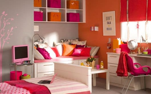 coole deko ideen schlafzimmer und kinderzimmer mdchen in orange und pink - Coole Mdchen Schlafzimmer