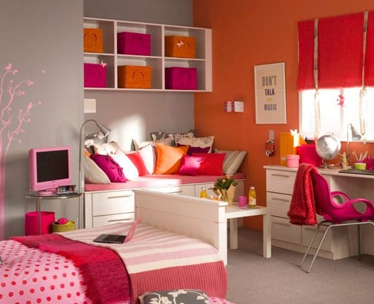 Coole Deko Ideen Schlafzimmer Und Kinderzimmer Mädchen In Orange Und Pink