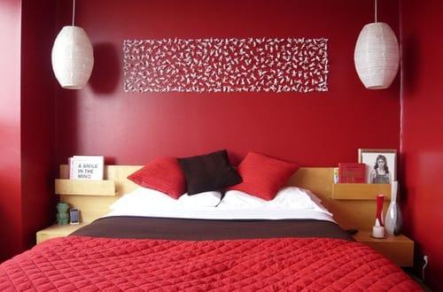 coole deko ideen und farbgestaltung schlafzimmer rot mit diy ...