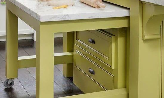 coole idee küche mit Tischplatte auf rollen zum raumsparren