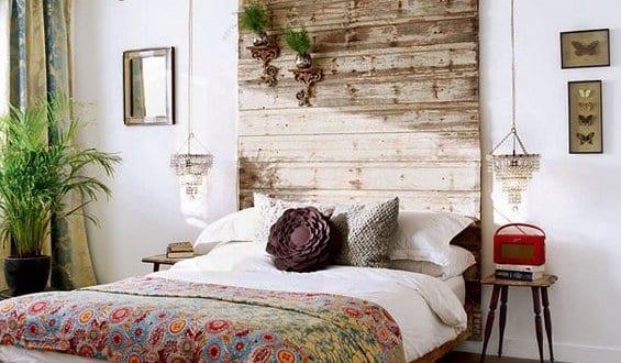 diy deko ideen schlafzimmer mit Holzbett und kopfteil holz - fresHouse