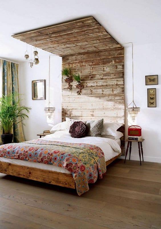 Elegant Diy Deko Ideen Schlafzimmer Mit Holzbett Und Kopfteil Holz