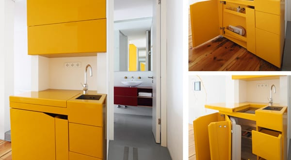 extrem kleine k che gelb zum platzsparen in kleinen. Black Bedroom Furniture Sets. Home Design Ideas