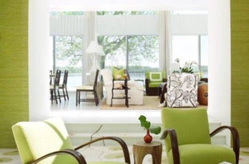 farbgestaltung für optische raumvergrößerung in grün und weiß