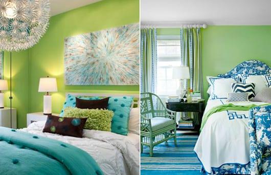 farbgestaltung in gruen und blau fuer optische raumvergroesserung im schlafzimmer freshouse. Black Bedroom Furniture Sets. Home Design Ideas