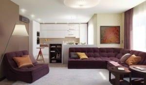 kleine wohnyimmer farbgestaltung mit wandfarbe braun und lilafarbigen polstersofas