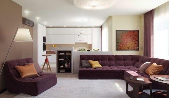 kleine wohnyimmer farbgestaltung mit wandfarbe braun und ...
