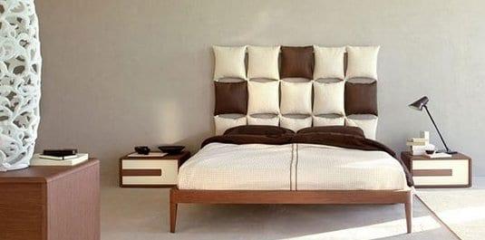 Kreative Schlafzimmer Deko Ideen Mit Kissen Als Koftteil Und Wanddeko In  Weiß Und Braum