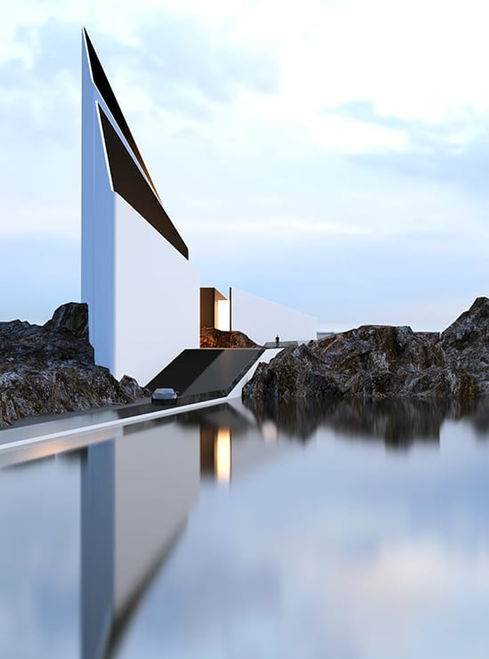 Lieblich Minimalistische Architektur Und Minimalistisches Haus Konzept Mit  Großartige Fassade Weiß Ohne Fenstern